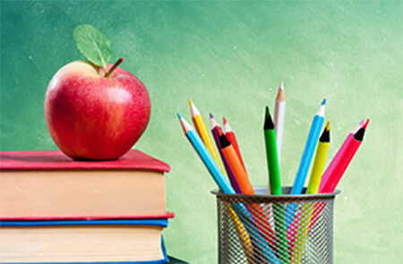 school book, apple and pencil clip art image